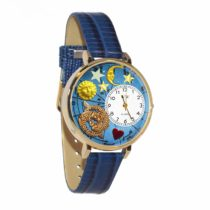 Whimsical Watches Pisces Royal Blue Leather and Goldtone Unisex Quartz Watch with White Dial Analogue Display and Multicolour Leather Strap G-1810009
