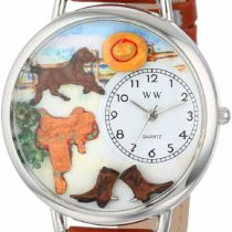 Whimsical Watches Ranch Tan Leather and Silvertone Unisex Quartz Watch with White Dial Analogue Display and Multicolour Leather Strap U-0160001