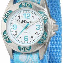 Ravel Girl's Baby Blue Flower Patterned Easy Fasten Strap Watch.