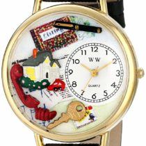 Whimsical Watches Realtor Black Skin Leather and Goldtone Unisex Quartz Watch with White Dial Analogue Display and Multicolour Leather Strap G-0610006