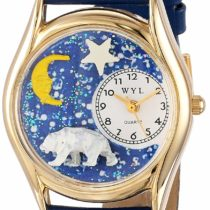 Whimsical Watches Polar Bear Royal Blue Leather and Goldtone Unisex Quartz Watch with White Dial Analogue Display and Multicolour Leather Strap C-0150014