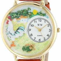 Whimsical Watches Rooster Tan Leather and Goldtone Unisex Quartz Watch with White Dial Analogue Display and Multicolour Leather Strap G-0110001