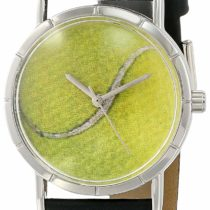 Whimsical Watches Tennis Lover Black Leather and Silvertone Photo Unisex Quartz Watch with White Dial Analogue Display and Multicolour Leather Strap R-0840011