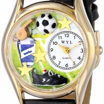 Whimsical Watches Soccer Black Leather and Goldtone Unisex Quartz Watch with White Dial Analogue Display and Multicolour Leather Strap C-0820020