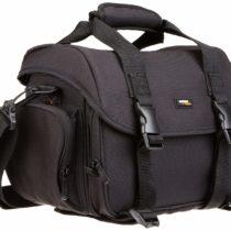 AmazonBasics – Large shoulder bag for SLR camera and accessories, Black with orange interior