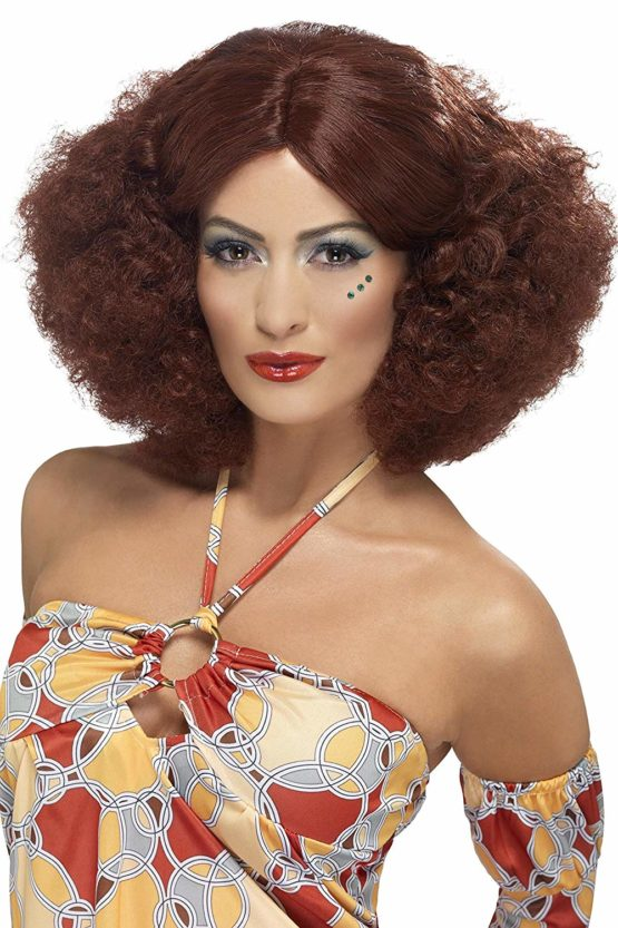 Smiffys 70's Afro Wig Auburn with Middle Parting