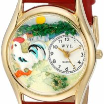 Whimsical Watches Rooster Red Leather and Goldtone Unisex Quartz Watch with White Dial Analogue Display and Multicolour Leather Strap C-0110004