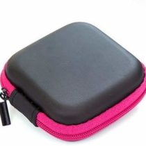 AKORD Small Square Carrying Case for Mobile Phone Headset and USB Cables – Rose