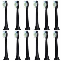 12 pcs (3×4) E-Cron   Toothbrush heads, Compatible Replacement Heads with Philips Sonicare DiamondClean Black. Spare heads fit on Philips Electric Toothbrush Models: ProResults, FlexCare, Platinum, (+), HealthyWhite, 2 Series, EasyClean and PowerUp.