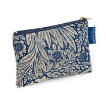 Blue Badge Company Padded Cotton Zip Up Cosmetic Purse with Waterproof Lining, Small William Morris Marigold Indigo Print