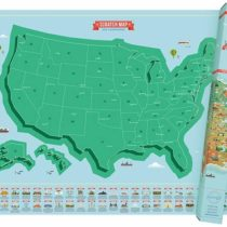 American Landmark Scratch Map – Personalized USA Scratch Off Travel Map – Highly Detailed Scratch Poster – Colourful Pictures & Background Map Décor – Great Gift For Travelers – Blue & Green