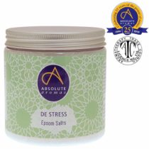 Absolute Aromas De-Stress Epsom Bath Salt 575g – Magnesium Sulphate Infused with 100% Pure Essential Oils – Bergamot, Frankincense, Rose, Jasmine and Lavender Oils – Relieve Daily Tensions