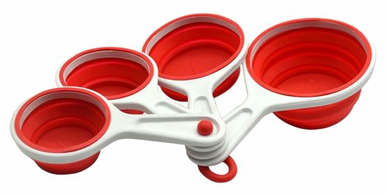 Silicone Bakeware Collapsible Measuring Cups Set of 4 Red, Silicone, 20x10x4 cm