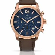 Accurist Men's Quartz Watch with Blue Dial Chronograph Display and Brown Leather Strap 7021.01