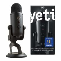 Blue Yeti USB Mic for Recording and Streaming on PC and Mac, 3 Condenser Capsules, 4 Pickup Patterns, Headphone Output and Volume Control, Mic Gain Control, Adjustable Stand, Plug and Play, Blackout