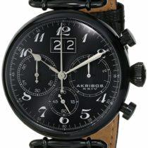 Akribos XXIV Men's AK628BLK Chronograph Quartz Movement Watch with Black Dial and Black Stainless Steel Strap