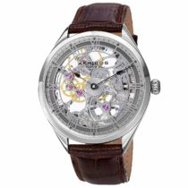 Akribos Skeleton Mechanical Wind Men's Watch – Alligator Embossed Genuine Leather Strap – Wristwatch See Through Dial – Great For Father's Day – AK802 (Silver/ Brown Strap)