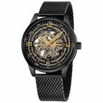 Akribos Automatic Skeleton Mechanical Men's Watch – Bravura Saturnos Professional Mesh Bracelet See Through Dial – Skeletonized Dial – AK446