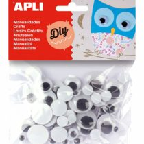 Apli 946030 – Crafting Round Mobile Eyes, Black – Bag de 75 units