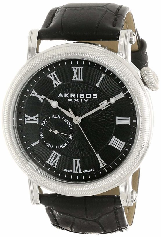 Akribos XXIV Men's AK673BK Swiss Quartz Multifunction Silver-tone Stainless Steel Black Leather Strap Watch