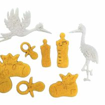 'Petra's Craft News A Baby BYF8 °F07 Felt Set – 62 Piece Set Consists Of 60 Yellow Felt Shapes and 2 Storks in White