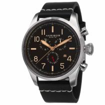 "Akribos XXIV Men's AK705SSB ""Ultimate"" Stainless Steel Watch with Black Leather Band"