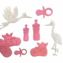 'Petra's Craft News A Baby BYF8 °F32 Felt Set – 62 Piece Set Consists Of 60 Pink Felt Shapes and 2 Storks in White