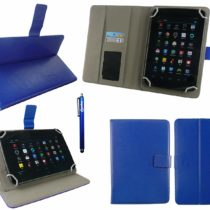 Emartbuy® EE Harrier Tab 8 Inch Tablet Universal Range Blue Multi Angle Executive Folio Wallet Case Cover With Card Slots +  Blue Stylus