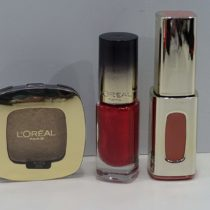 1 x L'Oreal Paris L'Extraordinaire Lip Lacquer Nude Ballet, 1 x L'Oreal Color Riche Eyeshadow Smoky, 1 x L'Oreal Colour Rich Nail Polish Ruby Gold, Set Of 3 Items