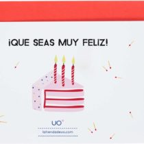 """'UO Study lmct3–Postcard Birthday""""What You're Very Happy, White and Pink"""