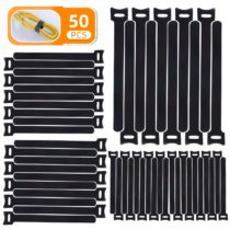 50 PCS Hook and Loop Cable Ties, Reusable Self-Adhesive Black Cable Ties (265mm/200mm/160mm), Releasable Adjustable Fastening Strap for TV PC Computer Electrical Cable Tidy
