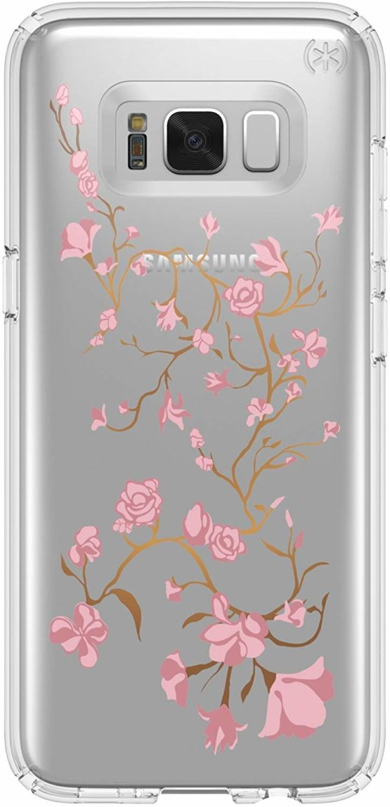 Speck Presidio Clear and Print Case for Samsung Galaxy S8 – Golden Blossoms Pink/Clear , 90254-5754