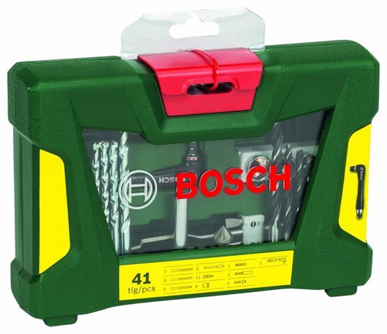 Bosch Home and Garden 2607017316 41 Piece V-line Drill Screwdriver Bit Accessory Set with Angle Driver, Green