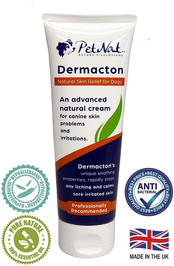 Petnat Dermacton Cream for ITCHY Dogs – Professionally recommended, fast natural relief for itching, sore skin & hair loss.