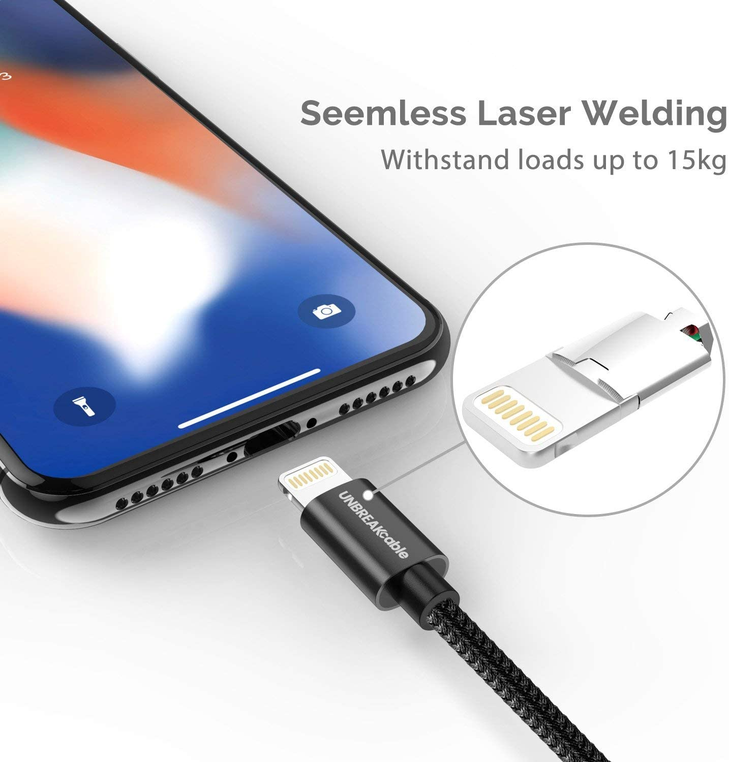 UNBREAKcable iPhone Charger Cable -[6.6ft/2m, Apple MFi ...