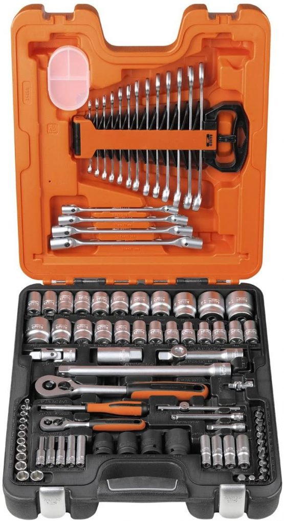 Bahco S877 S87+7 Socket Set 94-Piece 1/4-Inch And 1/2-Inch Drive
