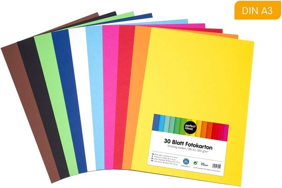 perfect ideaz 30 sheets coloured art paper card stock a3