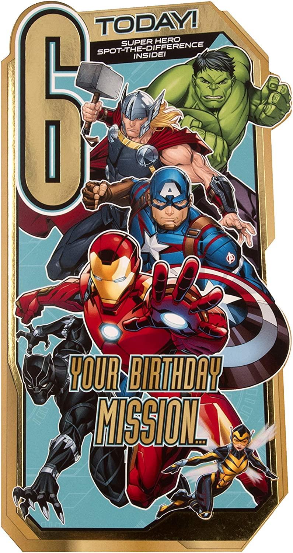 age 6 birthday card a from hallmark  diecut marvel